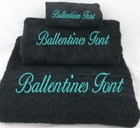Personalised Embroidered Black Towel set.  Choice of Bale size.  With any Name .